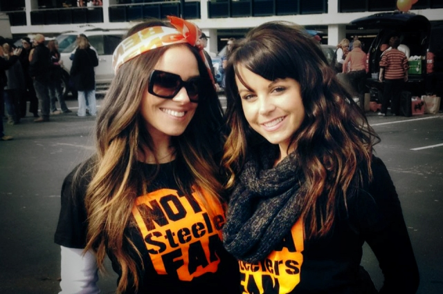 Football chic! Official Rival-ts babes Elizabeth Price and Amanda Fines at a game in Cincinnati